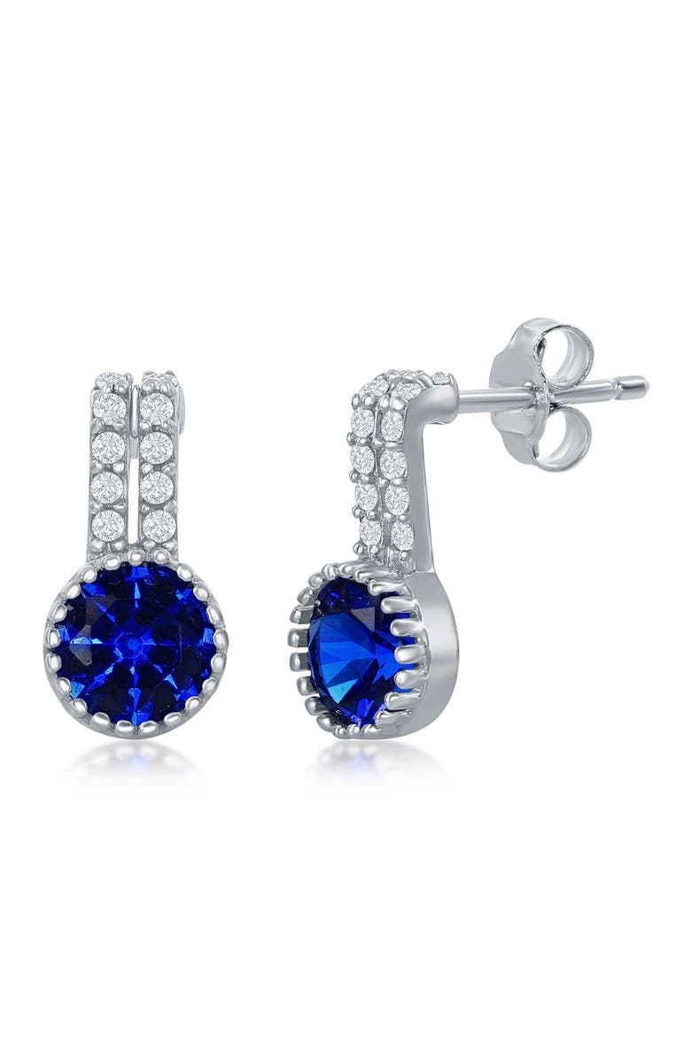 SIMONA Sterling Silver Round Blue Spinel Drop Earrings, Main, color, SILVER