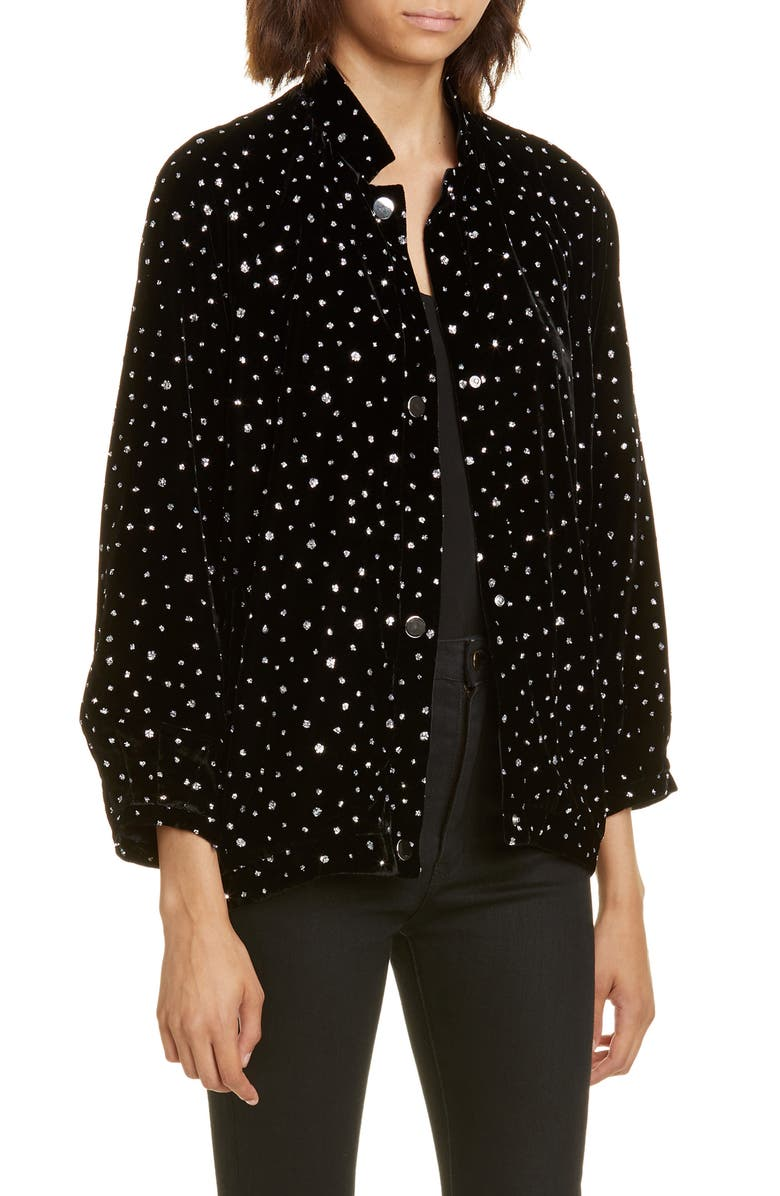 ROSEANNA Polka Dot Velvet Jacket, Main, color, 001