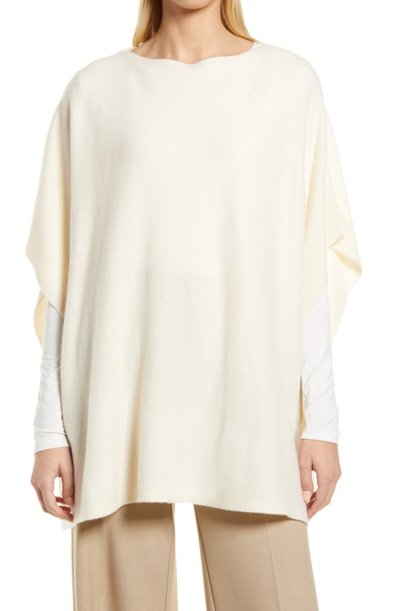 NORDSTROM Wool & Cashmere Poncho, Main, color, IVORY CLOUD