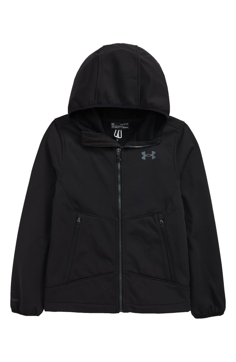 UNDER ARMOUR Kids' Soft Shell Hooded Jacket, Main, color, 001
