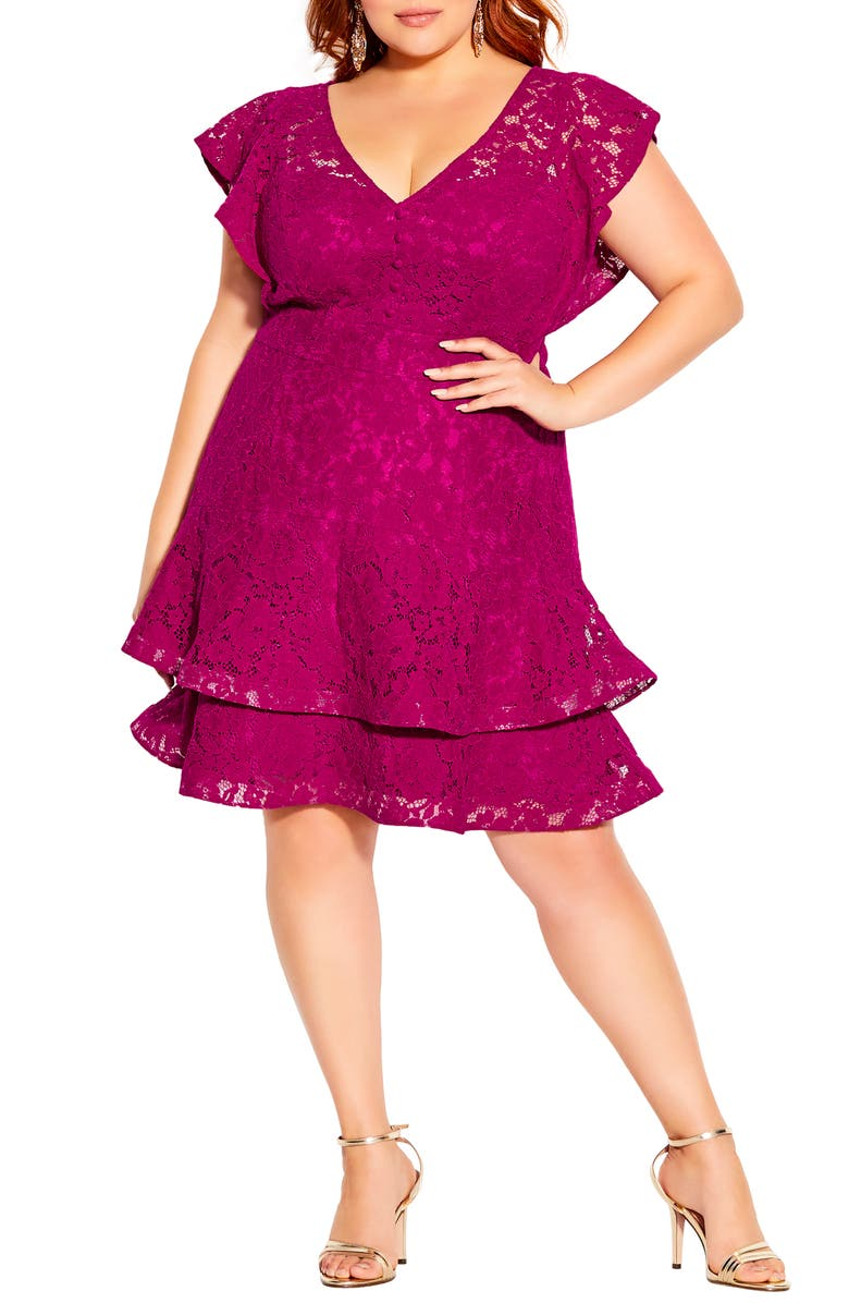 CITY CHIC Sienna Lace Fit & Flare Minidress, Main, color, FRAMBOISE