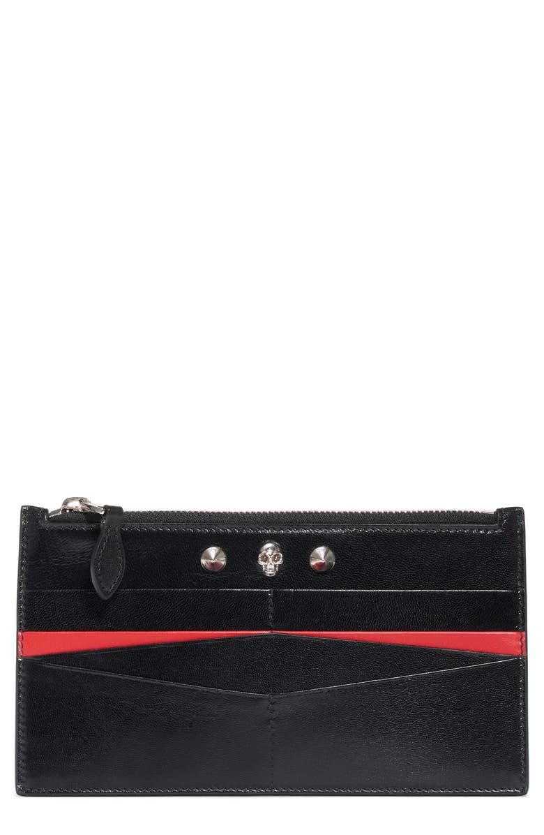 ALEXANDER MCQUEEN Skull Flat Leather Card Case, Main, color, 005