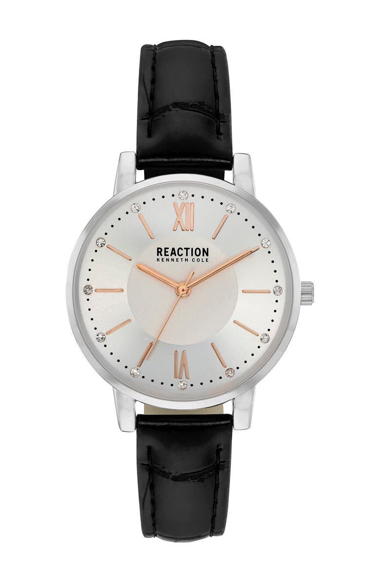 KENNETH COLE REACTION Women's Leather Strap Watch, 32mm, Main, color, BLACK