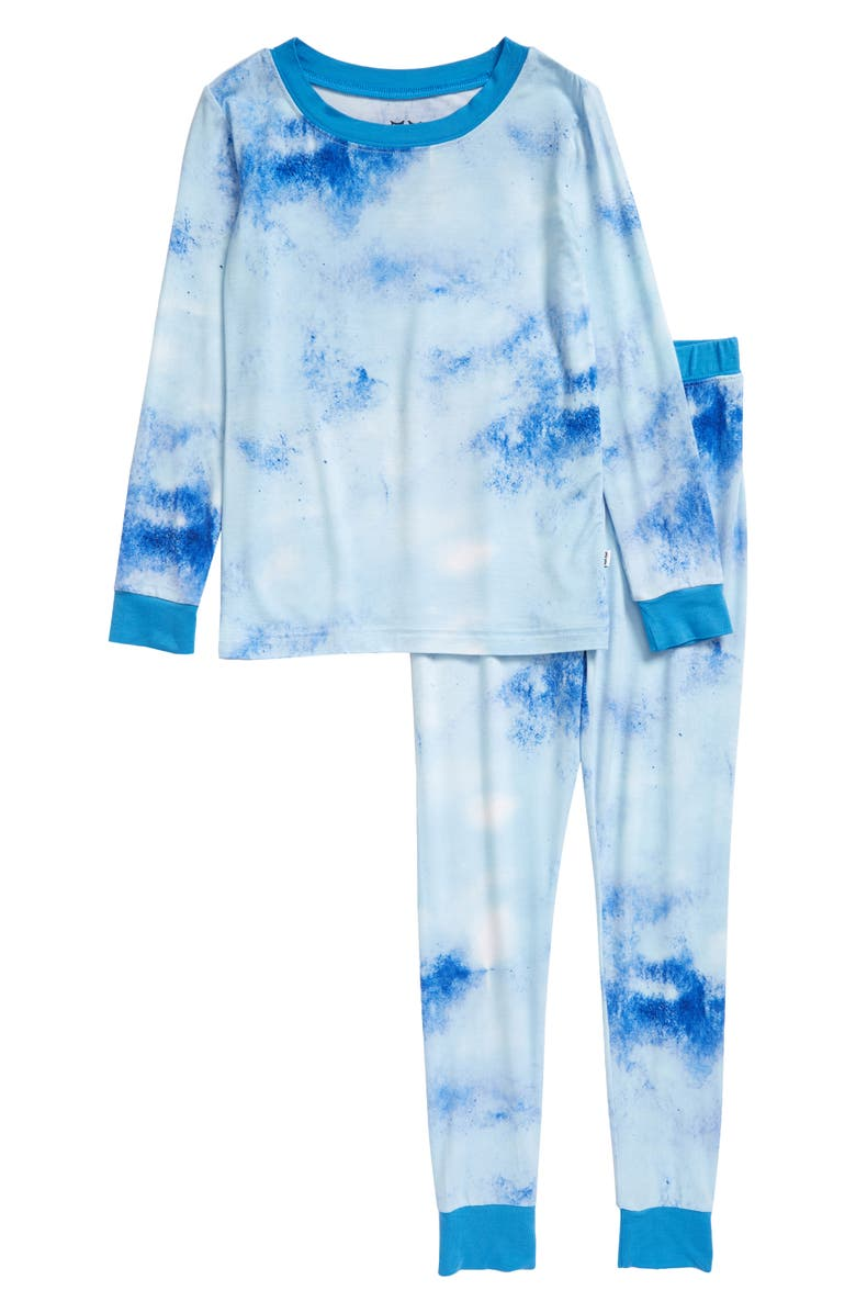 LITTLE SLEEPIES Tie Dye Fitted Two-Piece Pajamas, Main, color, BLUE WATERCOLOR
