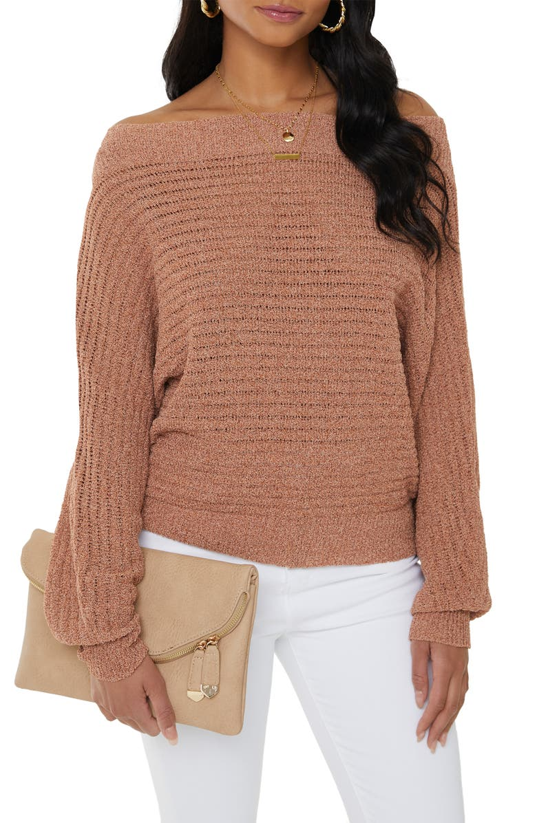 VICI COLLECTION Ribbed Off the Shoulder Dolman Sleeve Sweater, Main, color, TAN