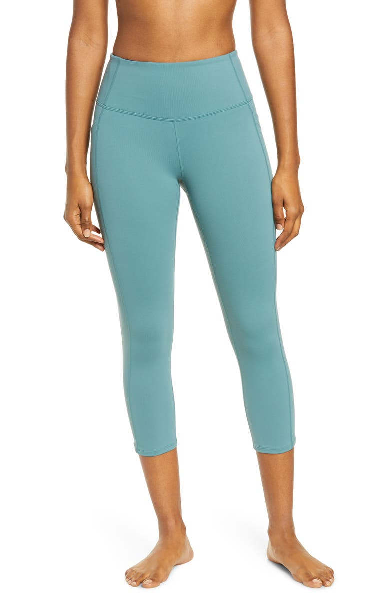 ZELLA Live In High Waist Pocket Crop Leggings, Main, color, TEAL TITANIC