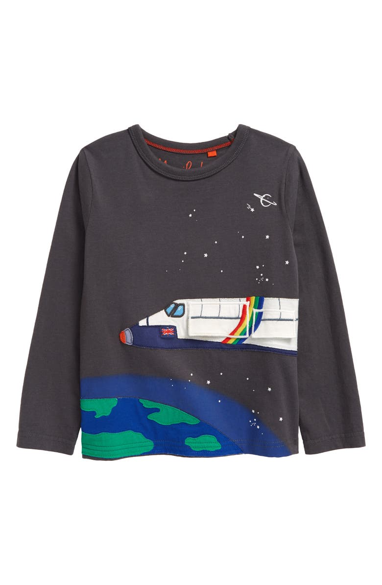 MINI BODEN Kids' Space Shuttle Graphic Tee, Main, color, SMOKE GREY SPACE SHUTTLE