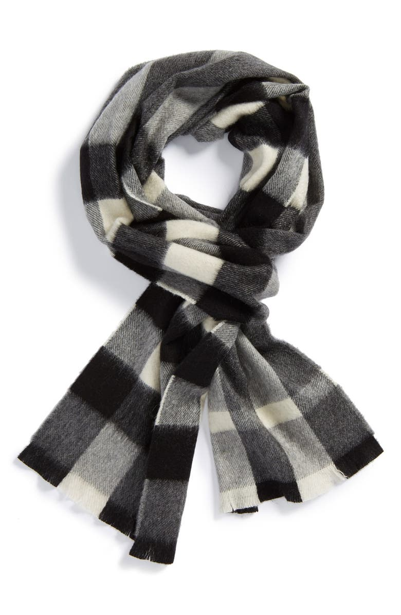 BURBERRY Check Cashmere Scarf, Main, color, MID GREY CHECK