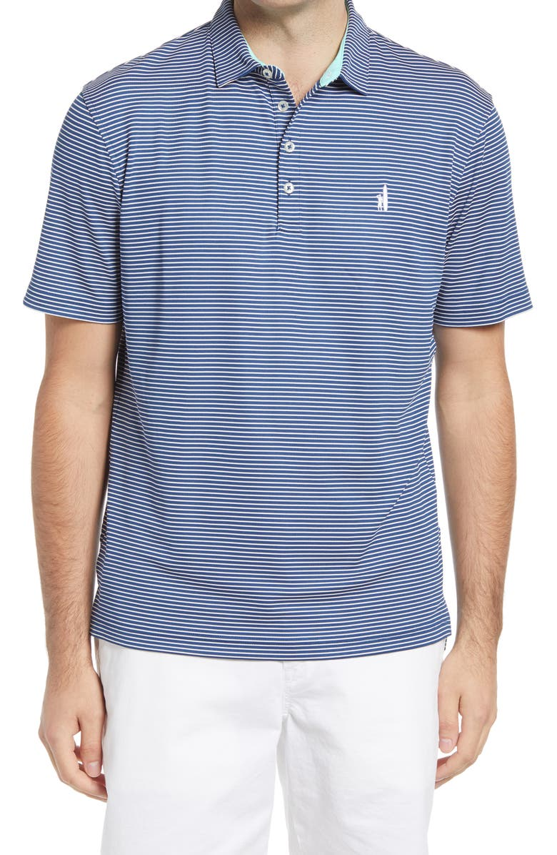 JOHNNIE-O Merrins Hangin' Out Stripe Performance Polo, Main, color, CADET BLUE