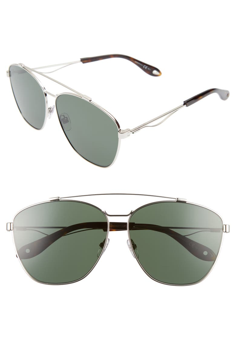 GIVENCHY 65mm Round Aviator Sunglasses, Main, color, 043