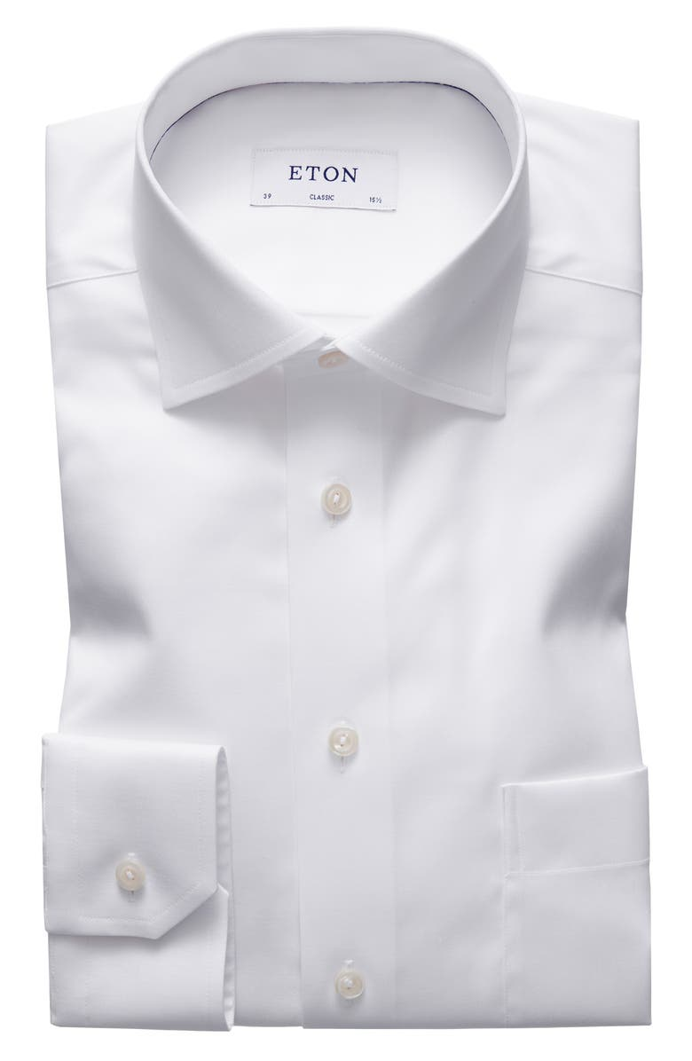 ETON Classic Fit Solid Dress Shirt, Main, color, WHITE