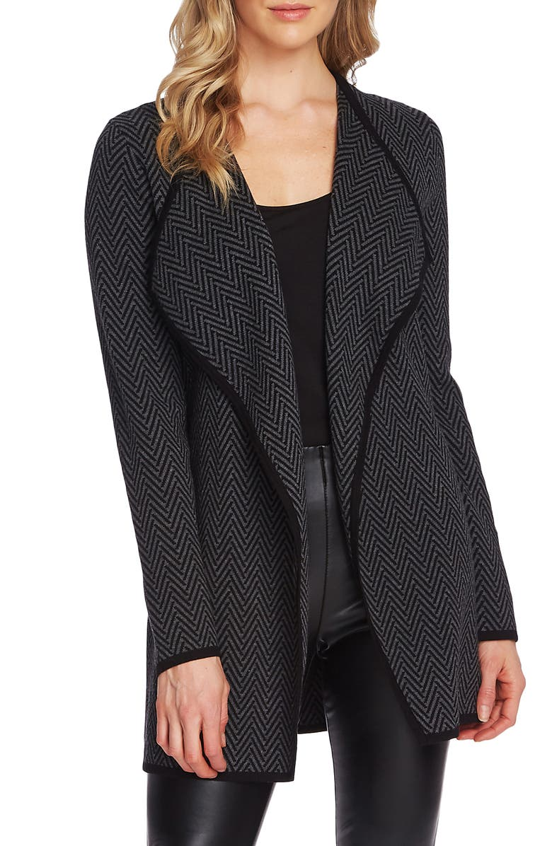 VINCE CAMUTO Herringbone Cardigan, Main, color, RICH BLACK