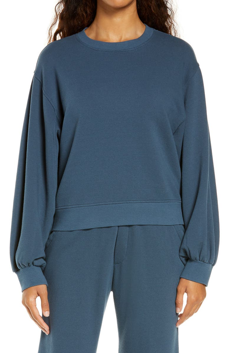 UGG<SUP>®</SUP> Brook Balloon Sleeve Crewneck Pullover, Main, color, STARRY NIGHT
