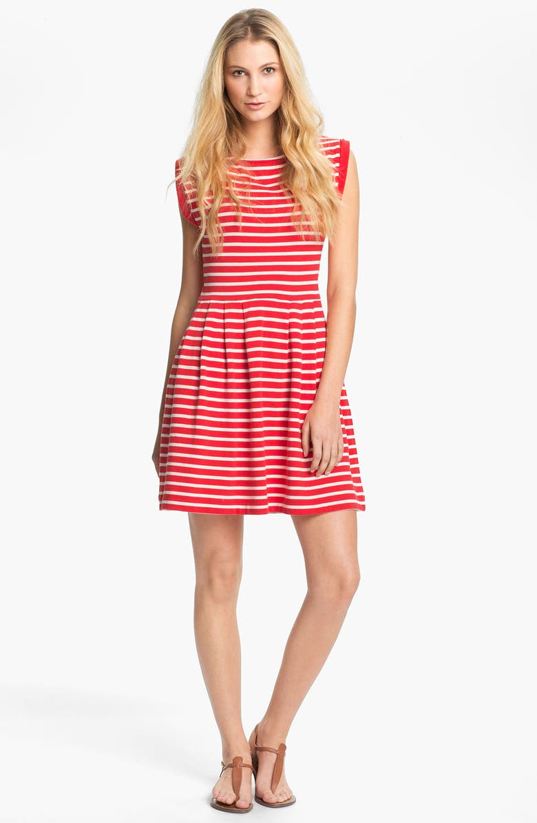FRENCH CONNECTION 'Classic County' Stripe Cotton Fit & Flare Dress, Main, color, 606