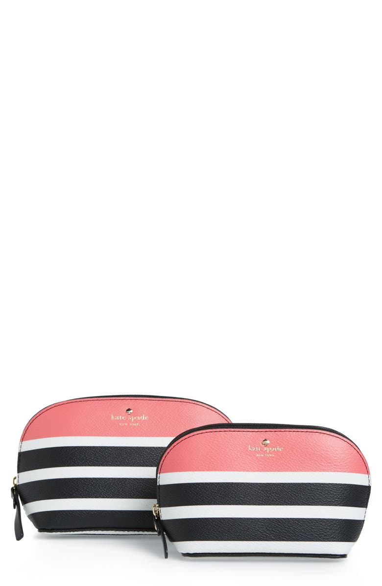 KATE SPADE NEW YORK hyde lane stripe abalene set of 2 faux leather pouches, Main, color, 001