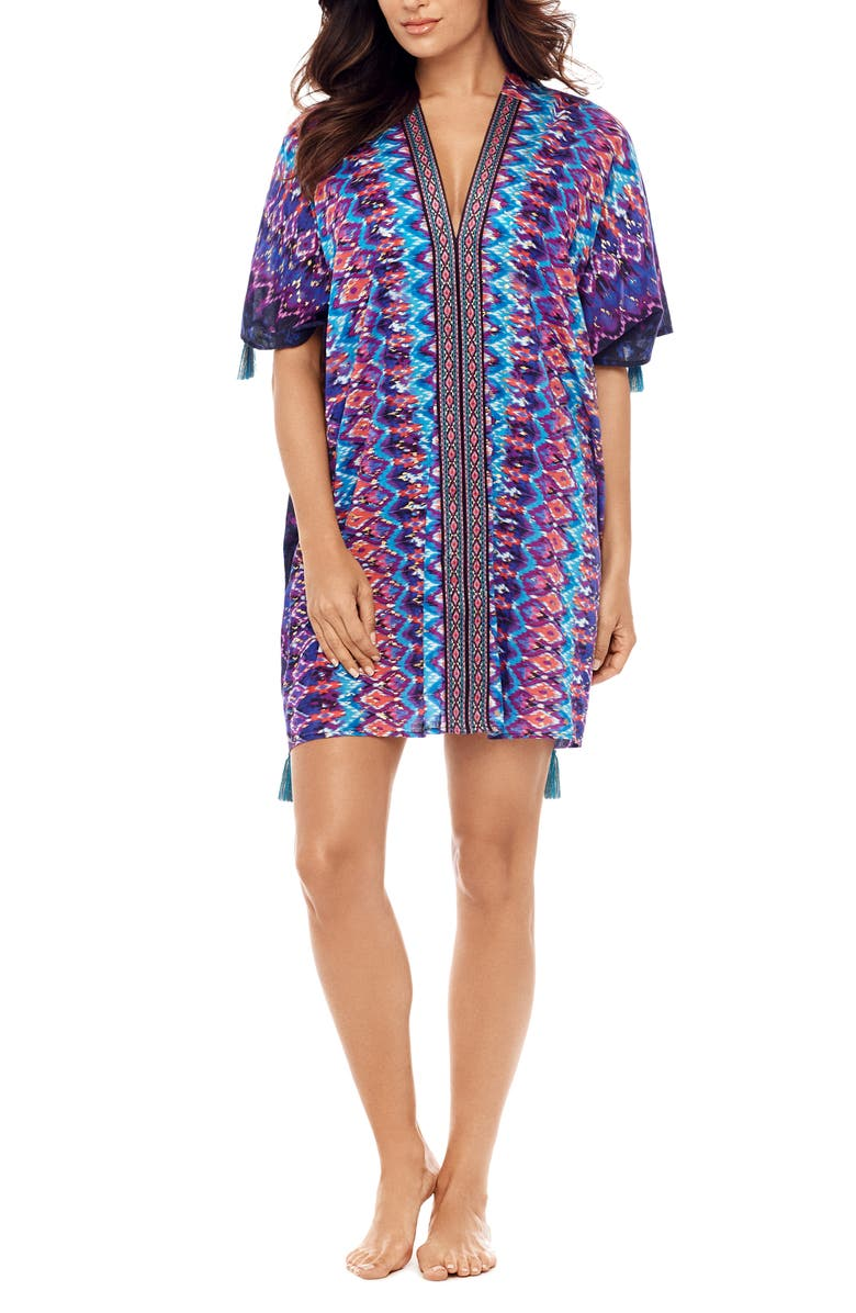 MIRACLESUIT<SUP>®</SUP> Bella Alba Cotton Caftan Cover-Up, Main, color, MDN