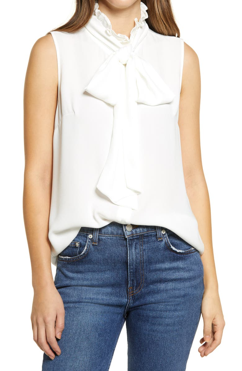 HALOGEN<SUP>®</SUP> Sleeveless Tie Neck Blouse, Main, color, IVORY CLOUD