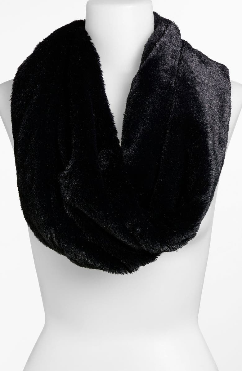 LULU Lush Faux Fur Circle Scarf, Main, color, 001