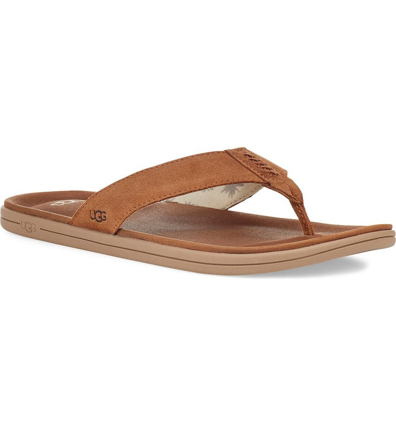 UGG<SUP>®</SUP> Brookside Flip Flop, Main, color, CHESTNUT SUEDE