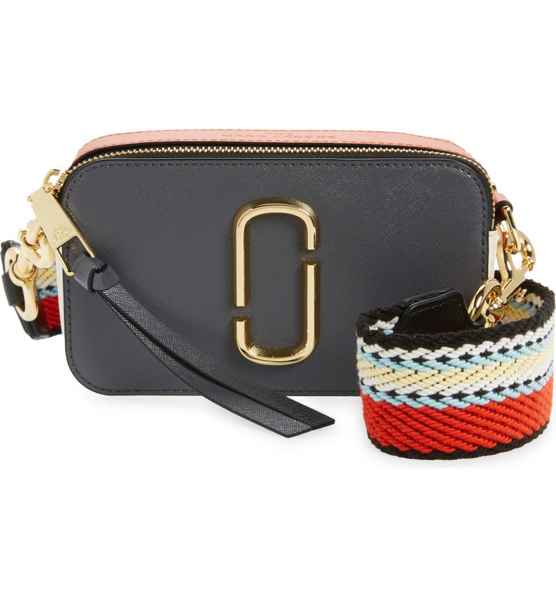 THE MARC JACOBS The Snapshot Leather Crossbody Bag, Main, color, CYLINDER GREY MULTI