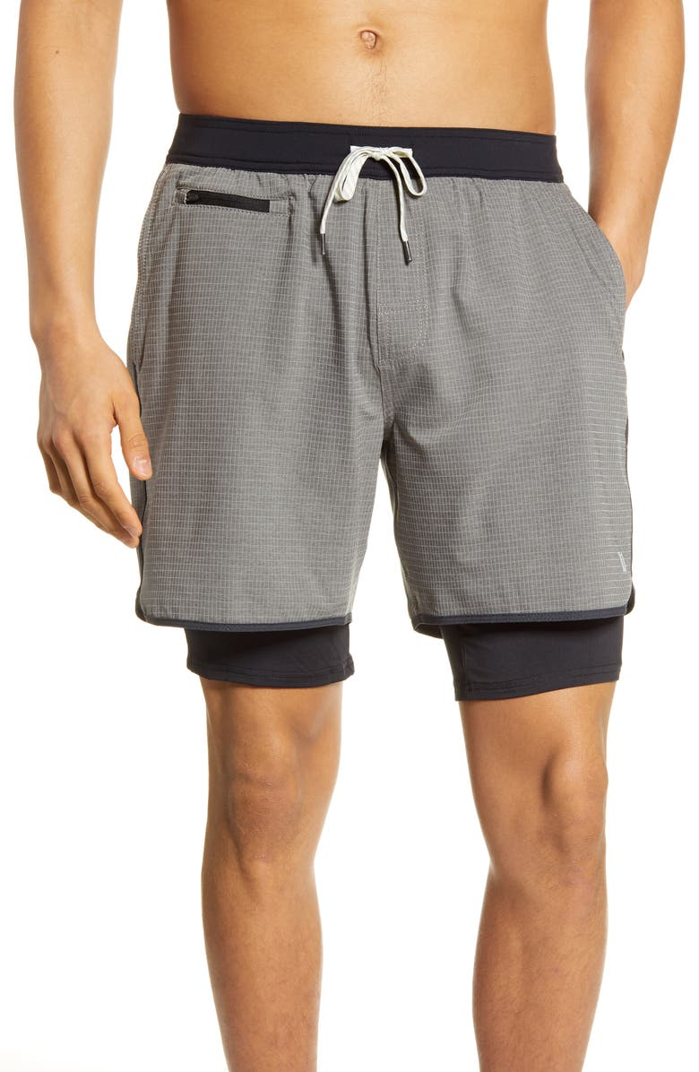 VUORI Stockton Layered Compression Performance Shorts, Main, color, GREY LINEN TEXTURE