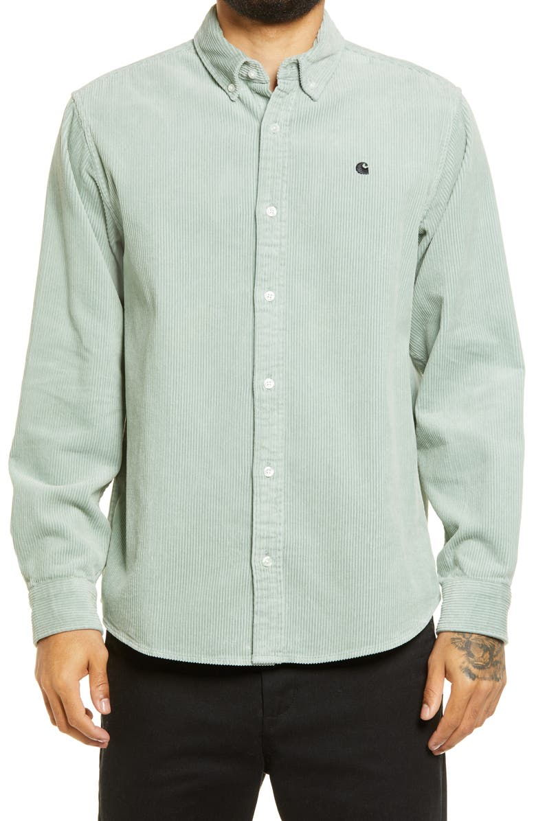 CARHARTT WORK IN PROGRESS Madison Corduroy Shirt, Main, color, FROSTED GREEN / BLACK