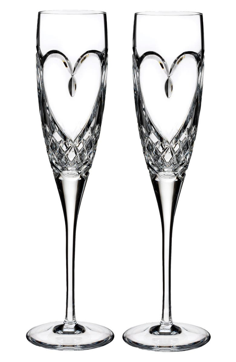 WATERFORD True Love Set of 2 Lead Crystal Champagne Flutes, Main, color, 100