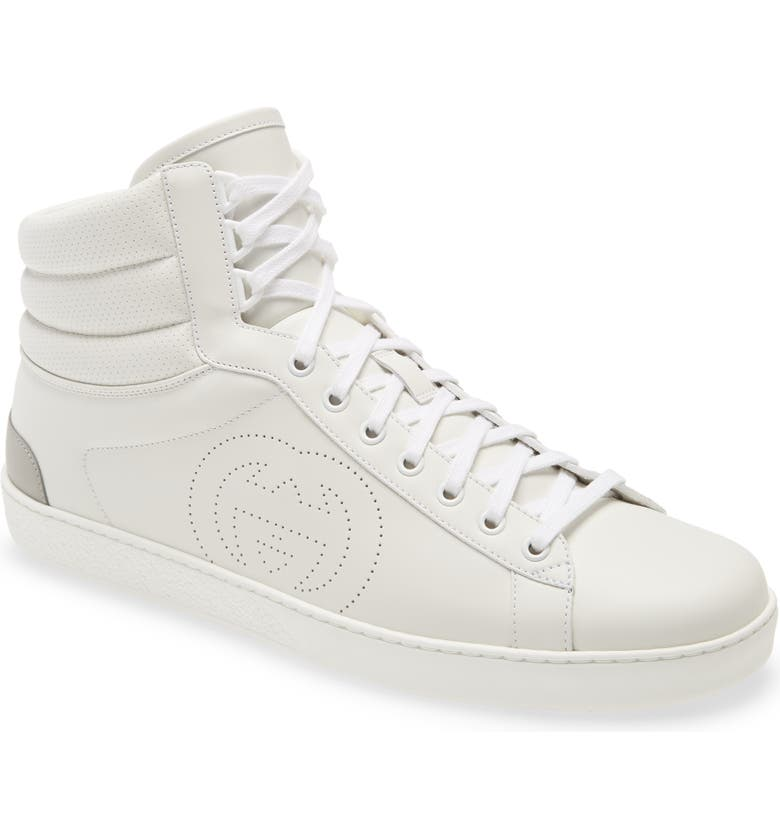 GUCCI New Ace Perforated Logo High Top Sneaker, Main, color, WHITE/ GREAT WHITE
