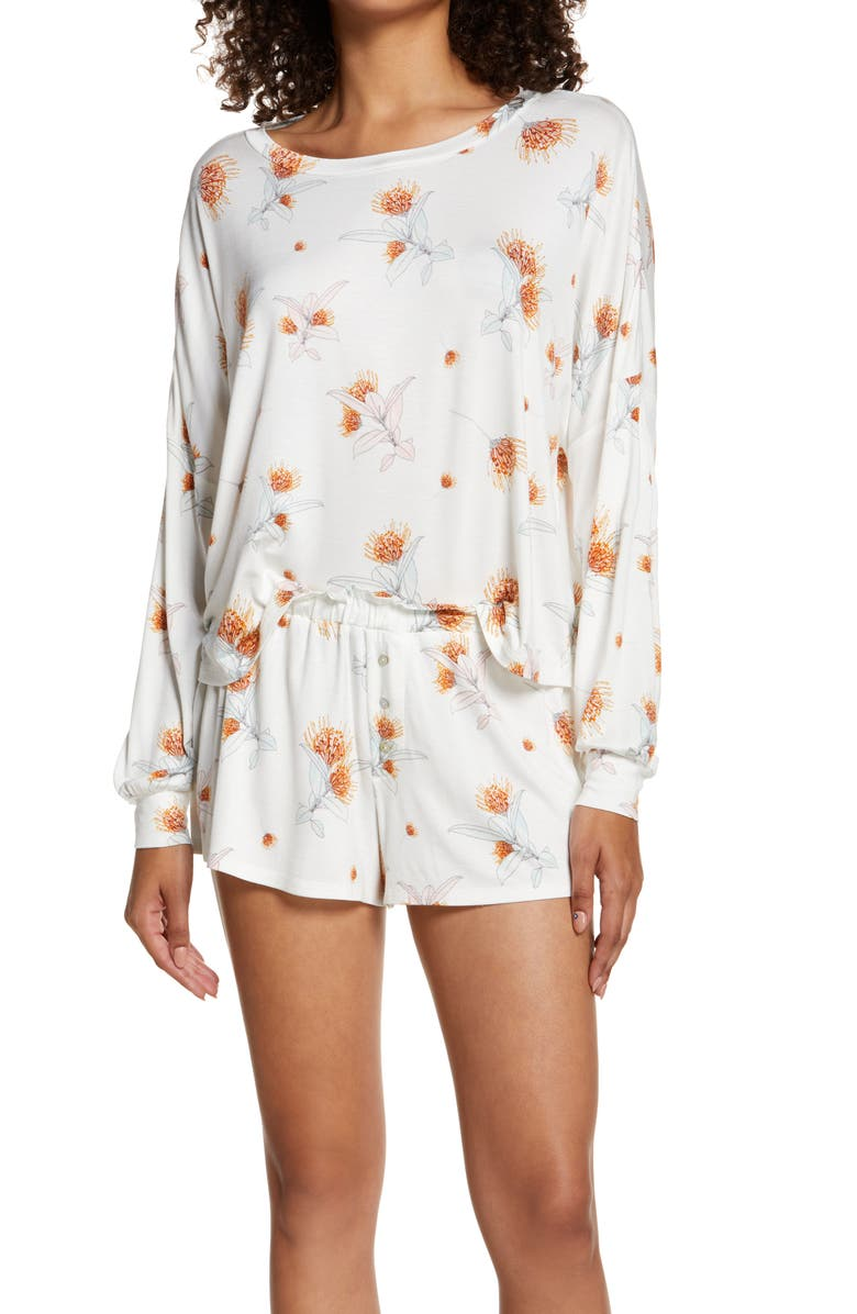 HONEYDEW INTIMATES All American Long Sleeve Shortie Pajamas, Main, color, IVORY FLORAL