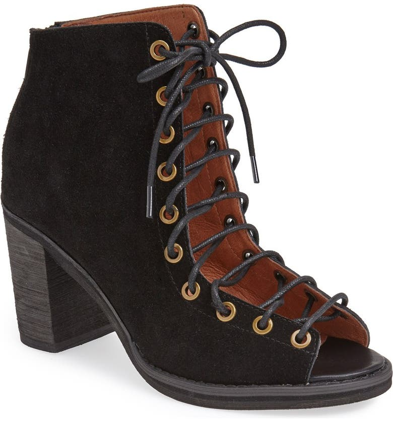JEFFREY CAMPBELL 'Cors' Suede Peep Toe Bootie, Main, color, 004