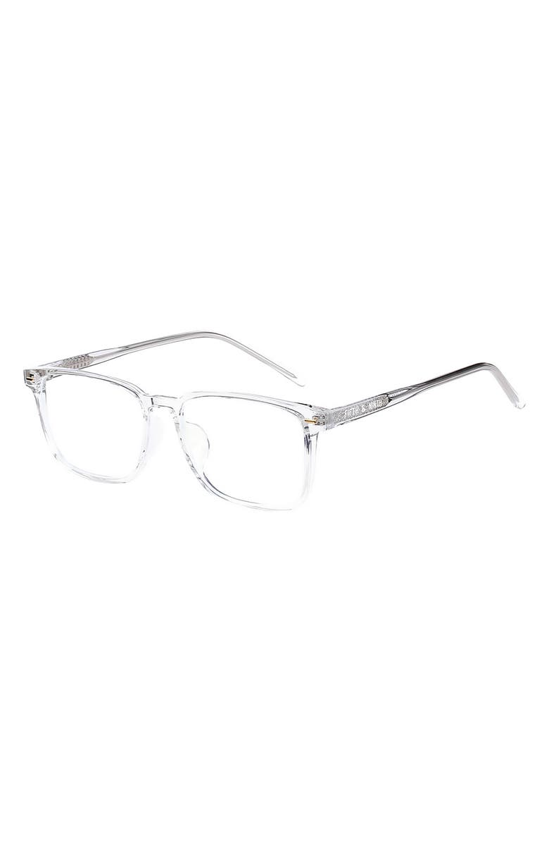 FIFTH & NINTH 53mm Square Blue Light Blocking Glasses, Main, color, CLEAR/ CLEAR