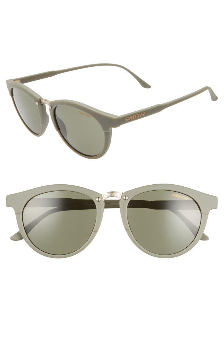 SMITH Questa 50mm ChromaPop<sup>™</sup> Round Sunglasses, Main, color, GREY/ MATTE SAGE