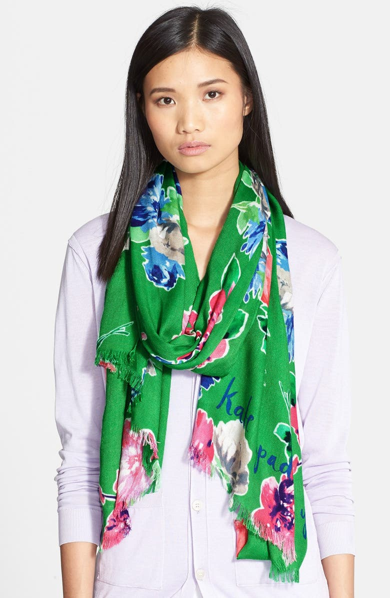 KATE SPADE NEW YORK 'spring blooms' scarf, Main, color, 300