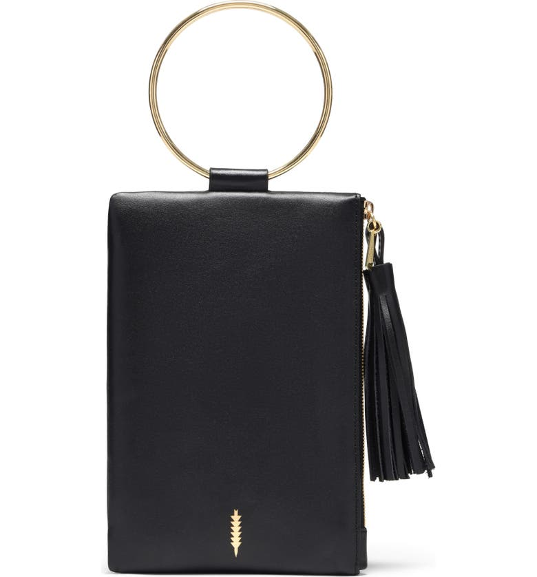THACKER Nolita Ring Handle Leather Clutch, Main, color, BLACK GOLD