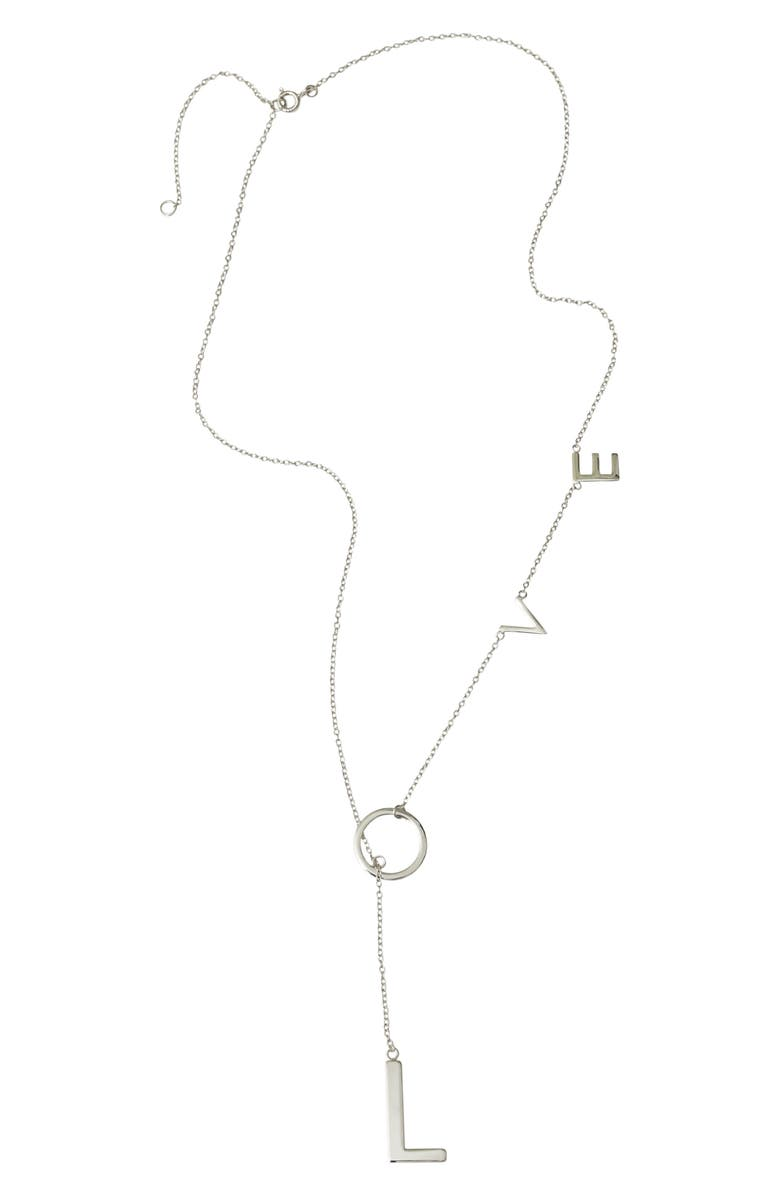 ADORNIA Love Lariat Necklace, Main, color, SILVER