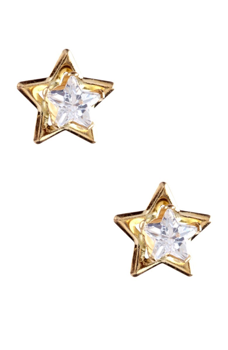 CANDELA JEWELRY 14K Gold CZ Star Stud Earrings, Main, color, CLEAR