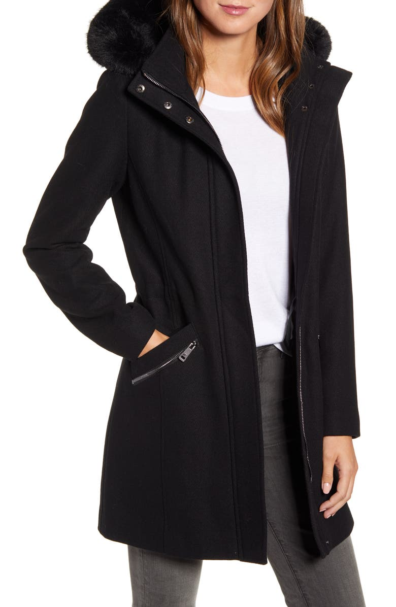 KENNETH COLE NEW YORK Wool Blend Twill Hooded Coat with Faux Fur Trim, Main, color, BLACK