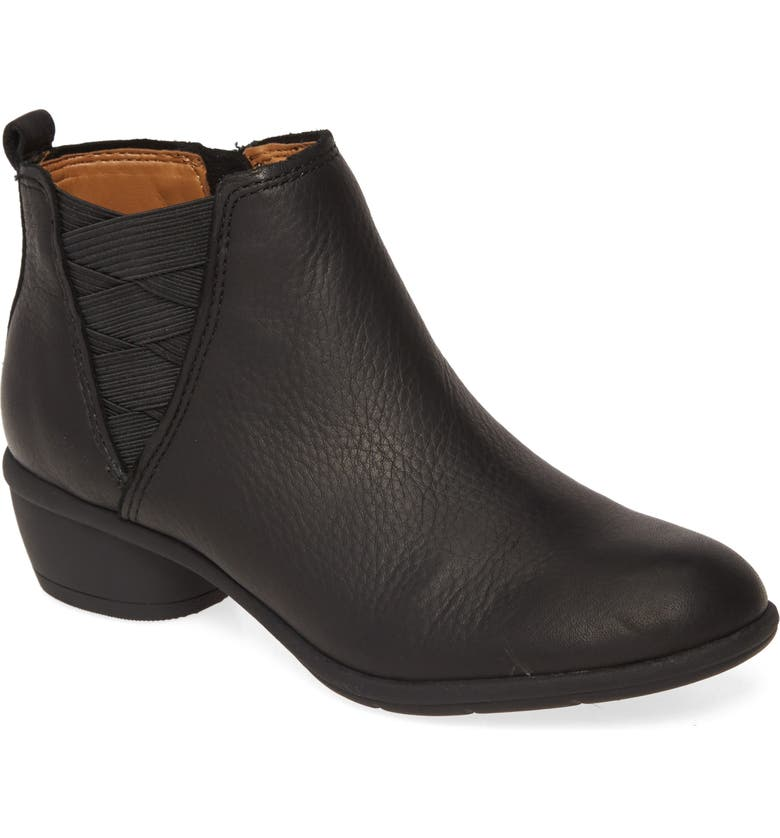 COMFORTIVA Questa Ankle Boot, Main, color, BLACK LEATHER