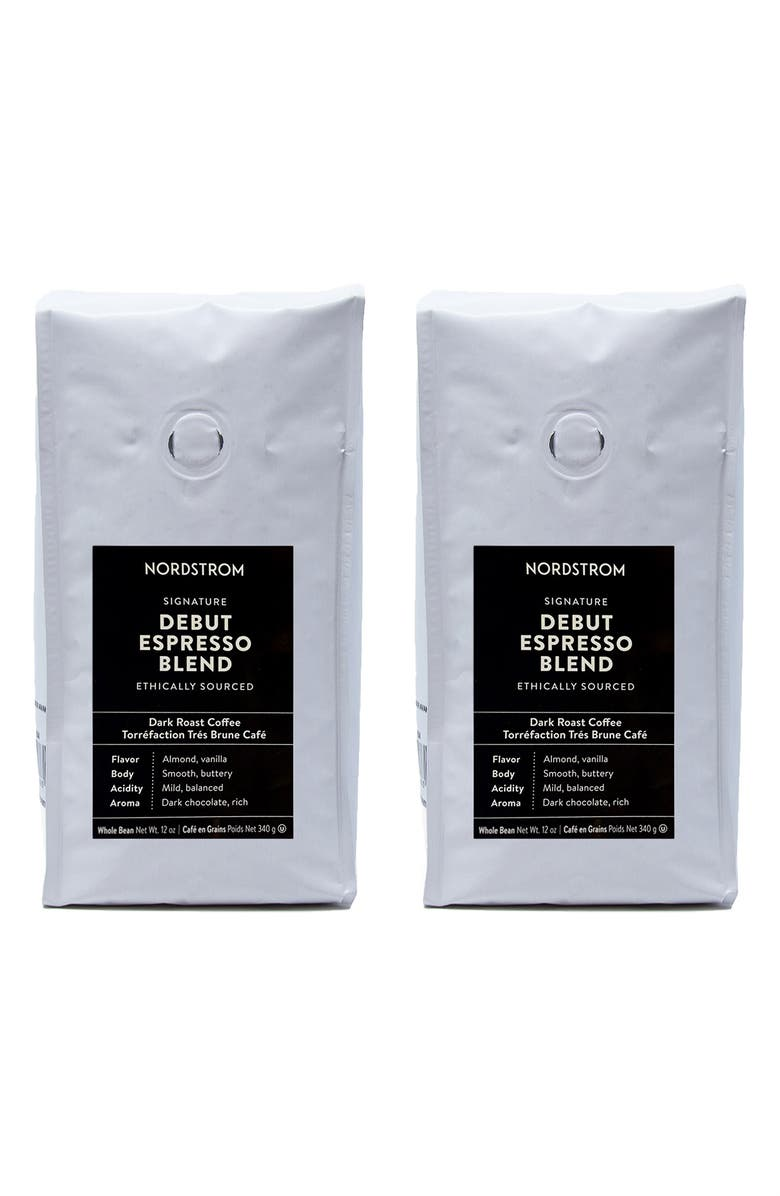 NORDSTROM Ethically Sourced Debut Espresso Blend 2-Pack Whole Bean Coffee, Main, color, BROWN