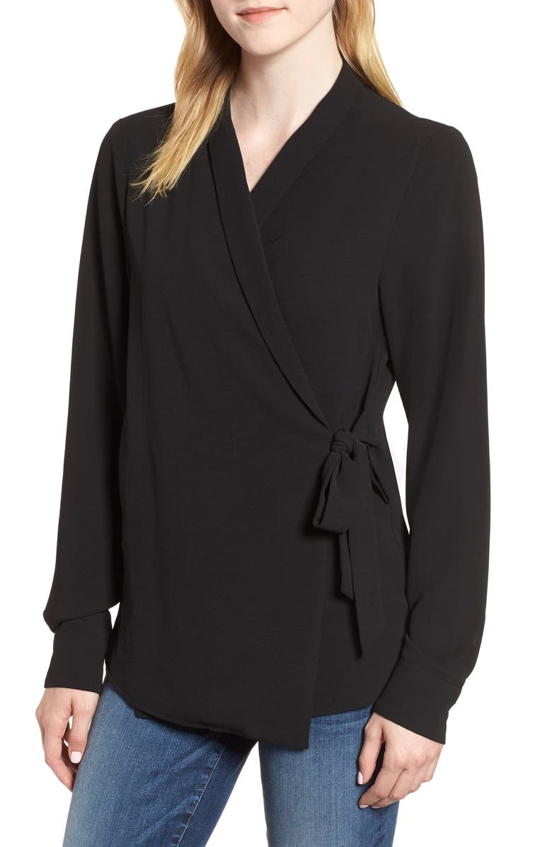 BOBEAU Side Tie Wrap Top, Main, color, 001