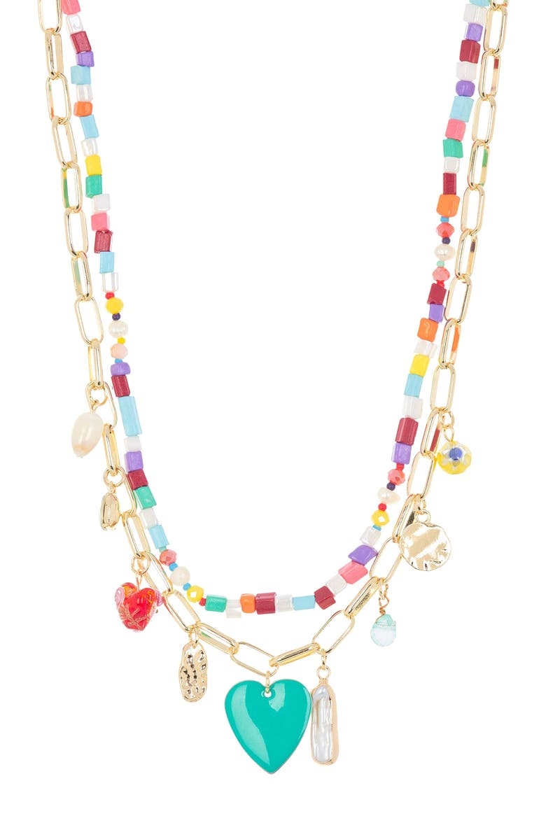 BP. Beaded Layered Charm Necklace, Main, color, PINK MULTI- GOLD