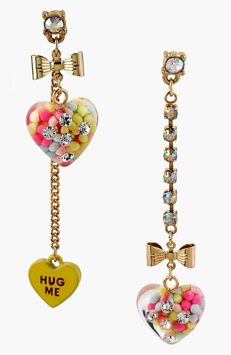 BETSEY JOHNSON 'Vintage Bow - Candy Heart' Mismatched Heart Linear Earrings, Main, color, 700