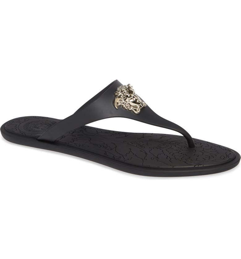 VERSACE Medusa Thong Sandal, Main, color, BLACK