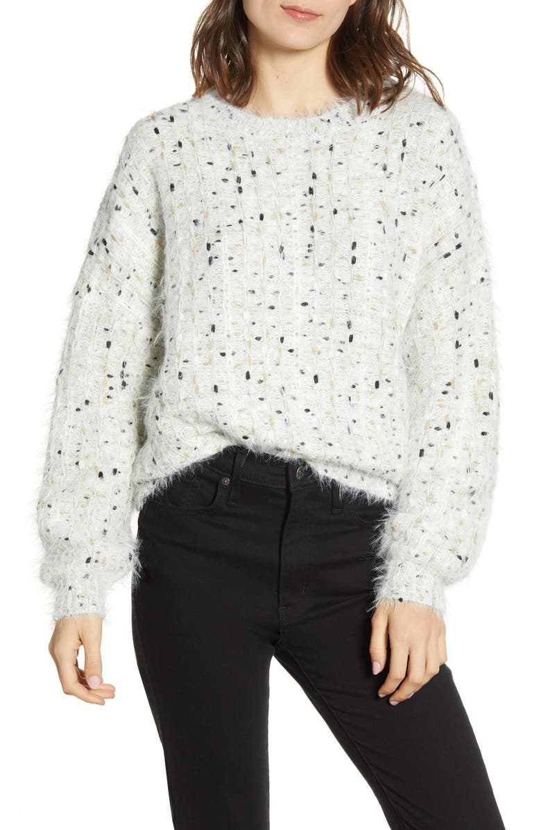 CUPCAKES AND CASHMERE Nisha Fuzzy Speckle Pullover, Main, color, 900