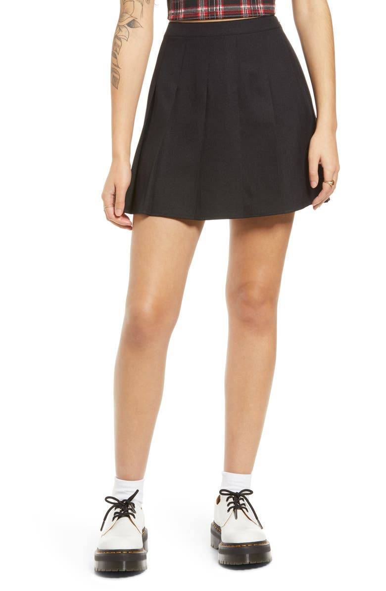 BP. Pleated Miniskirt, Main, color, BLACK