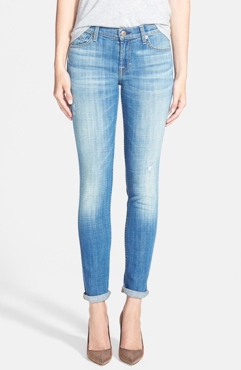 7 FOR ALL MANKIND <sup>®</sup> 'The Skinny' Stretch Skinny Jeans, Main, color, BRIGHT LIGHT BROKEN TWILL
