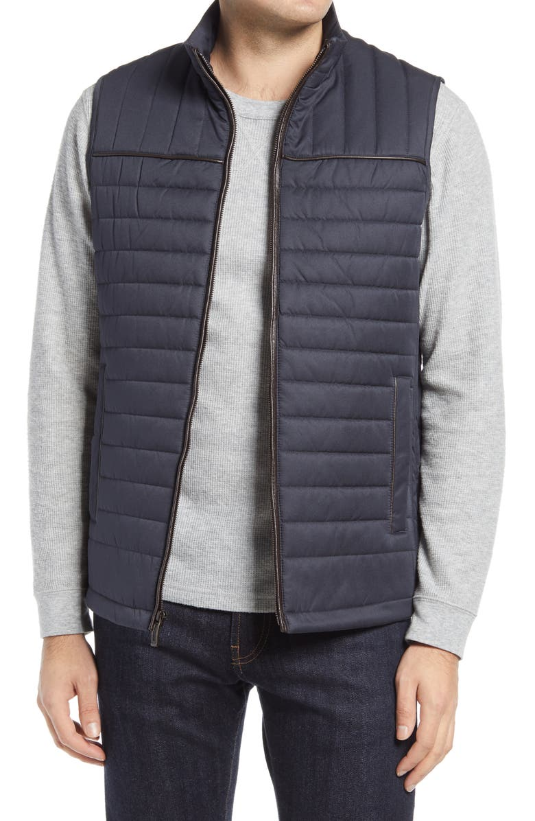 JOHNSTON & MURPHY Quilted Twill Vest, Main, color, NAVY