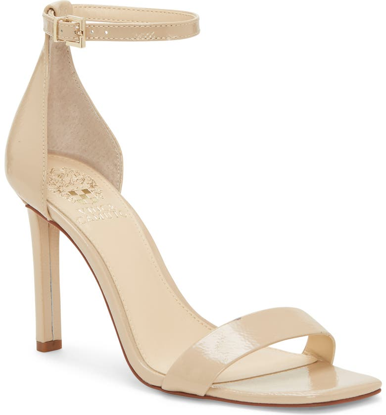 VINCE CAMUTO Lauralie Ankle Strap Sandal, Main, color, BISQUE PATENT LEATHER