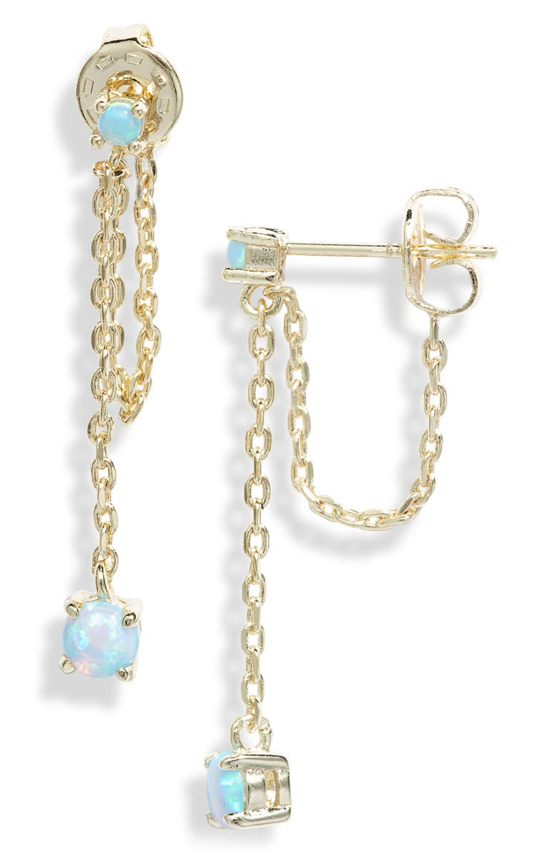 MELINDA MARIA Ray Drop Chain Earrings, Main, color, BLUE OPAL