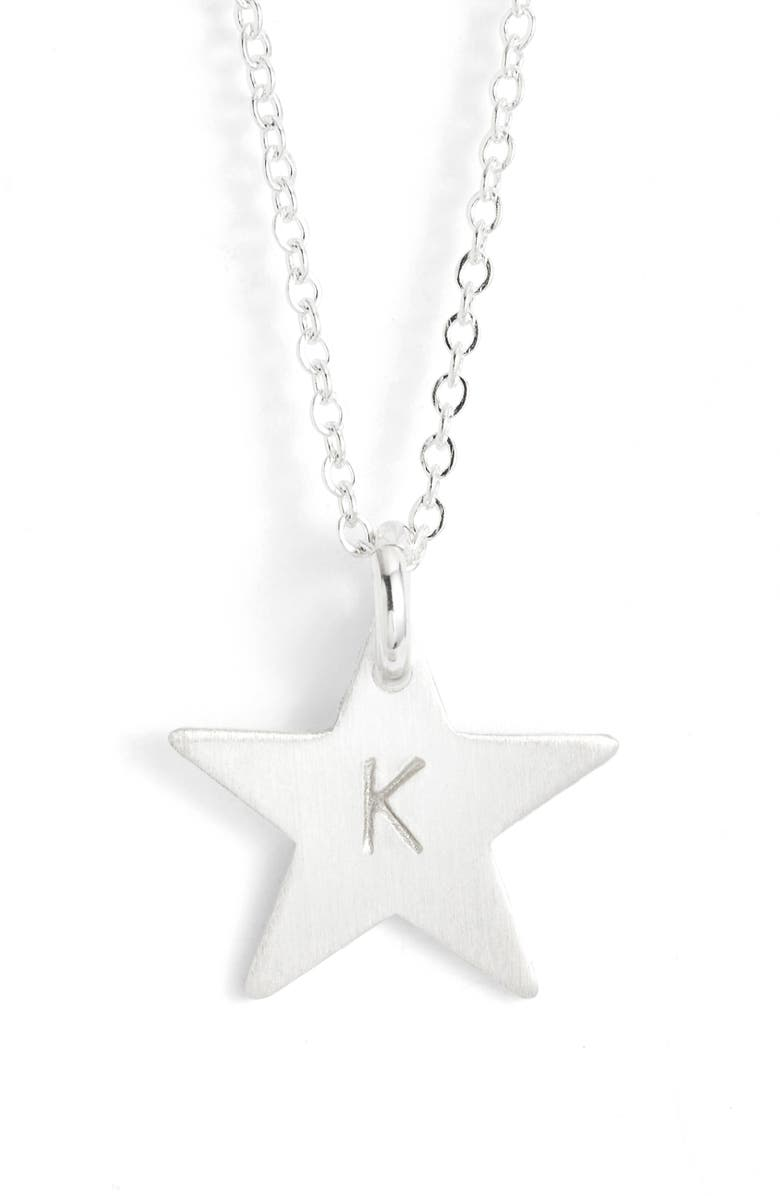 NASHELLE Sterling Silver Initial Mini Star Pendant Necklace, Main, color, SILVER/ K